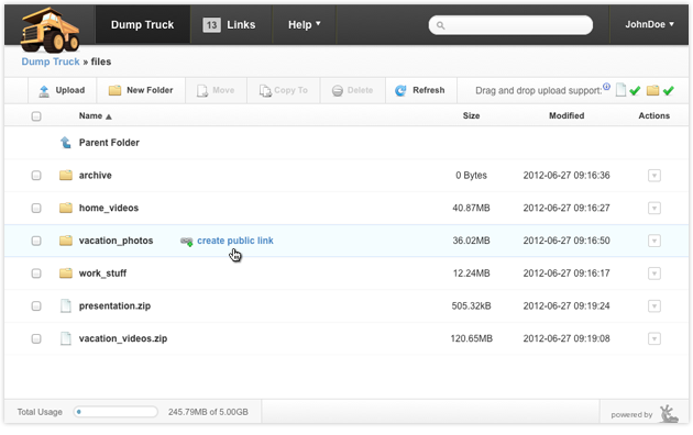 Create public links for a files or folders
