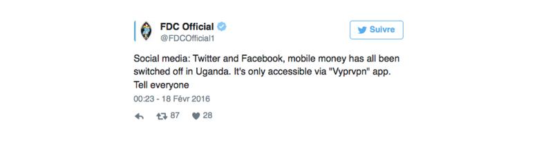VyprVPN Uganda Social Media Tweet